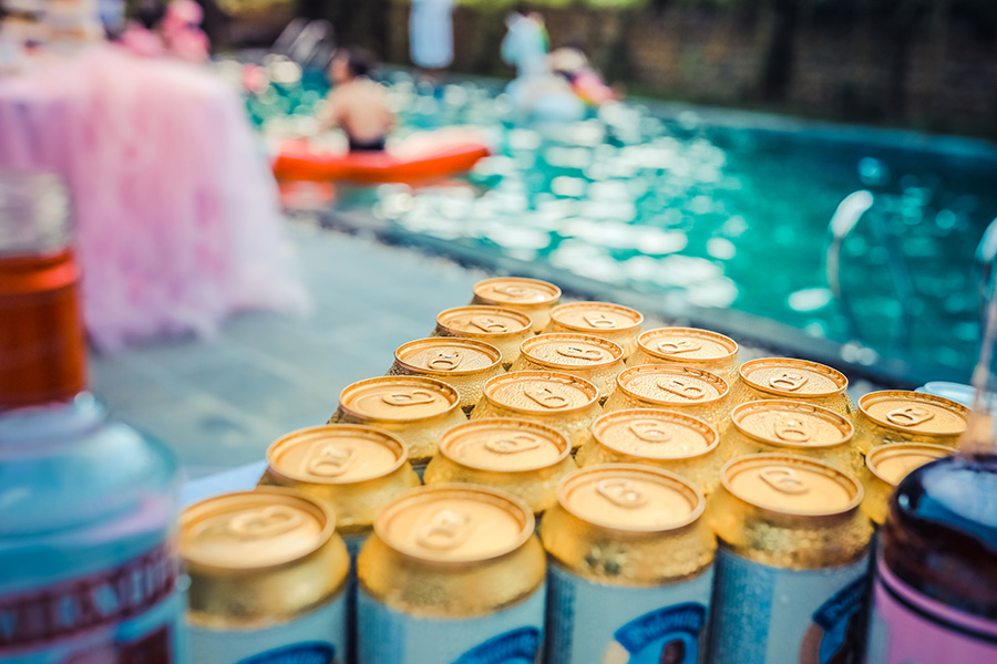 Pool party for a bachelor party