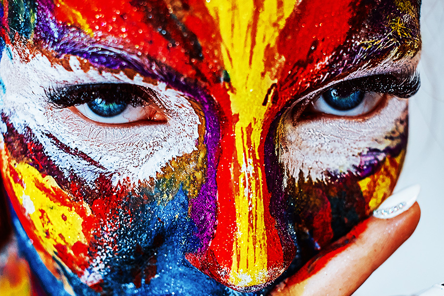 a bodypainted face of a girl
